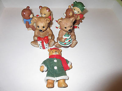 LOT 5 Porcelain BEAR Figurines Enesco Jointed Lucy Rigg Me/Party Bears/Christmas
