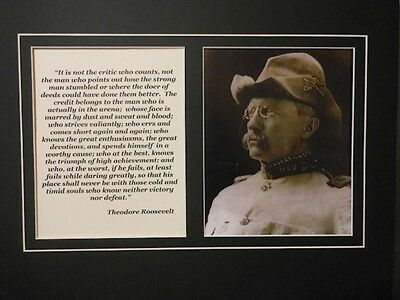 Large Matted Theodore Teddy Roosevelt Photo & Quote