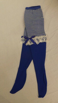 Vtg WHOOPIETITES Tights/Petti Pants Adorable Blue w/Stripes & Ruffles 4-6X NOS