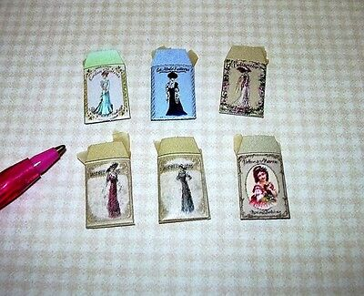 """Miniature """"Dragonfly"""" 6 Victorian Pattern Envelopes in Color:  DOLLHOUSE 1/12"""