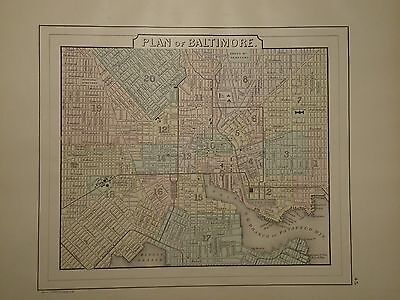 Vintage 1887 Baltimore Map Old Antique Original Atlas Map Free S&h 100615