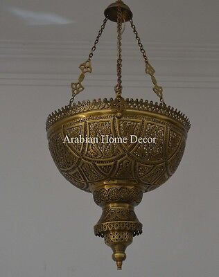Unique Handcrafted Moroccan Oxidized Brass Lantern Hanging Lamp Ceiling Light
