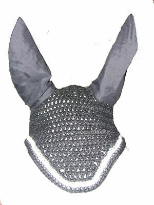 Ecotak Crochet Bonnet/Ear Net - Black with White trim Pony size