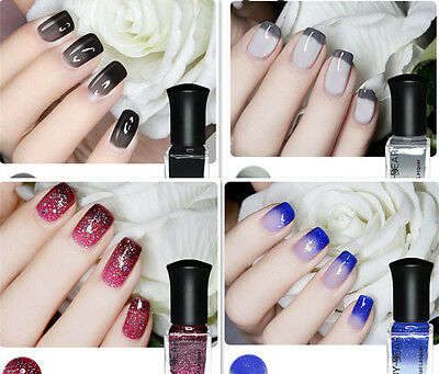 4Pcs/Set Thermal Temperature Nail Polish Color Changing Peel Off Varnish 6ml