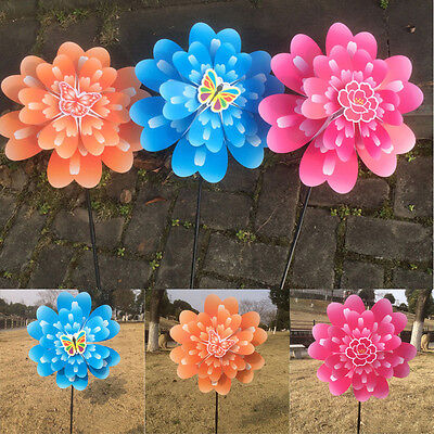 Hot Butterfly Peony Flower Colourful Wind Spinner Windmill Home Garden Decor