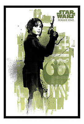 Framed Star Wars Rogue One Jyn Grunge Poster New