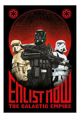 Framed Star Wars Rogue One Enlist Now Galactic Empire Poster New
