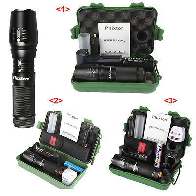 Tactical Military Rechargeable LED Flashlight 5000lm CREE T6 Torch 26650 Battery