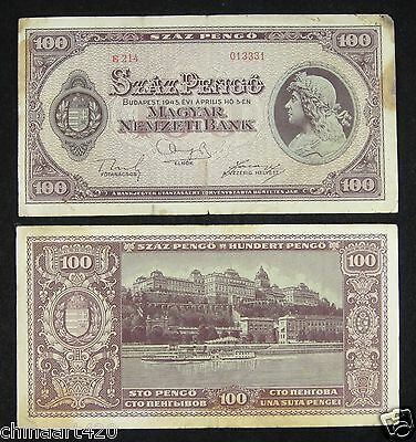 Hungary Banknote 100 Pengo 1945 Circulated