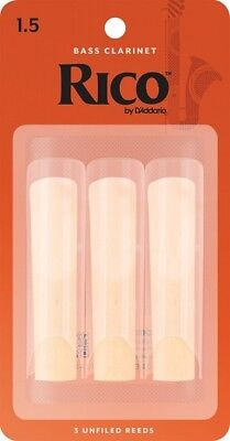 D'Addario Rico REA0315 Strength 1.5 Reeds for Bass Clarinet (Pack of 3)