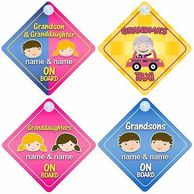 Baby on Board / Car Signs for Grandparents - Choice of Grandchildren Designs