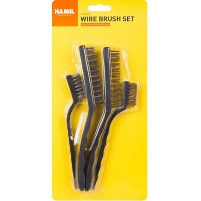 4 x Heavy Duty Copper & Steel Wire Brushes Cleaning Paint Rust Tool Metal Brush