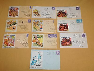 Vintage 10 Wwii Funny Mail Envelopes Of Soldiers