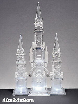 Christmas LED Acrylic Church Light Up Spire Tower Xmas Ornament Decoration