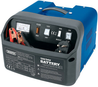 Draper 11953 12/24v 12A Battery Charger copper clips Garage Tool 200Ah support