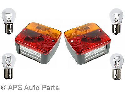 Pair Of Trailer Caravan Rear Square 4 Function Tail Brake Stop Indicator Lights
