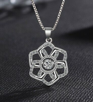 Micro Pave Cubic Zirconia Sterling Silver Flower Halo Pendant Necklace Gift Box