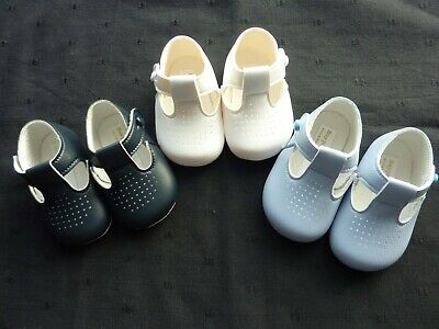 BABY BOYS SHOES EARLY DAYS/BAYPODS WHITE ,BLUE, NAVY 0-3m to 12-18m ..SOFT SOLE