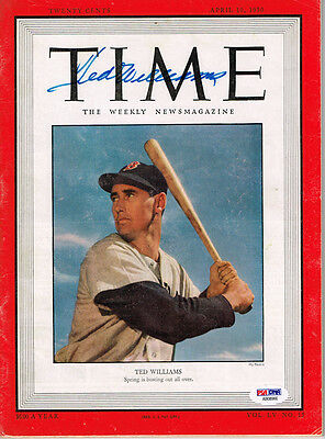 Ted Williams Signed Autographed Time Magazine Full April 10 1950 Psa/dna Ab08966