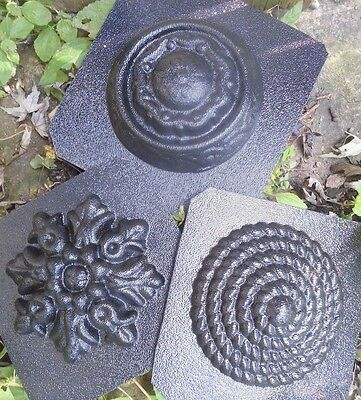 """3 embellishment molds plaster fimo clay wax casting molds plastic 4"""" - 4.5"""""""