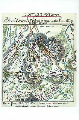 Battle of Gettysburg Civil War Map, Pennsylvania -- US History Military Postcard