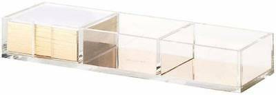NEW Kate Spade New York clear Acrylic Loose Notes DESK OFFICE GOLD Holder tray