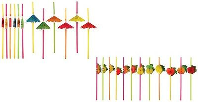 Cocktail Umbrella Fruit Drinking Straw Hawaiian Christmas Party Hen Stag Bar Pub