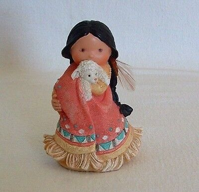 FRIENDS OF THE FEATHER 1994 Native American GIRL Holds LAMB She Who Cares A Lot