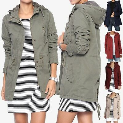 TheMogan Women's Military Washed Twill Hooded Utility Anorak Jacket Outer S~3XL
