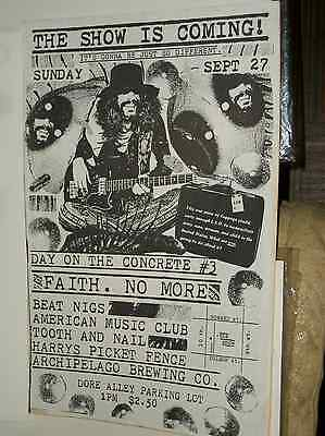Faith No More Day On Concrete  Gig Poster Beat Nigs AMC Tooth & Nail SF 1987