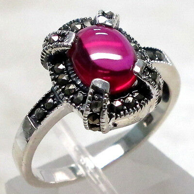 EXQUISITE MARCASITE 1.5 CT RED AGATE 925 STERLING SILVER RING SIZE 5-10