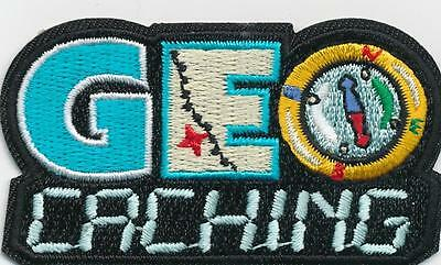 Girl Boy Cub GEO CACHING Black Fun Patches Crests Badges SCOUT GUIDE Geocaching