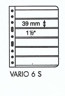 LIGHTHOUSE VARIO 6 STRIP BLACK STAMP ALBUM STOCK SHEET 6S Pack of 5 Strips 39mm