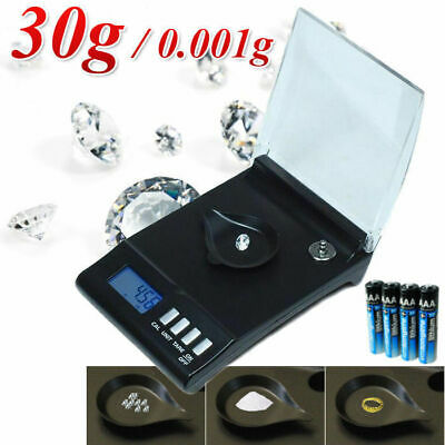 30g x 0.001g Digital Jewellery Pocket Precision Scale 1mg Electronic LCD Display