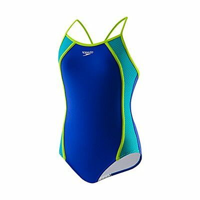 NWT GIRLS SPEEDO 7142318 485 big girl mesh thin strap Xtra Life Lycra SWIMSUIT