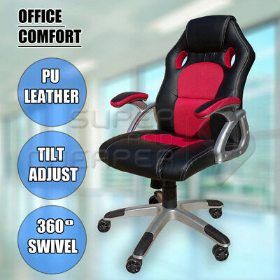 Racing Office Chair Seat Executive Computer Gaming Deluxe PU Leather Black Red