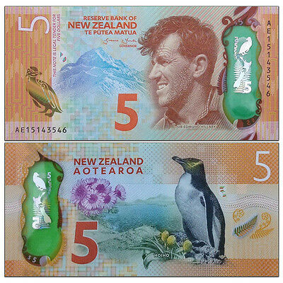 New Zealand 5 Dollars, 2015/2016, P-191 New, Polymer, UNC New Design