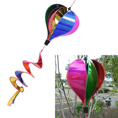 Outdoor Yard Decor Rainbow Sequins Windsock Striped Hot Air Balloon Wind Spinner