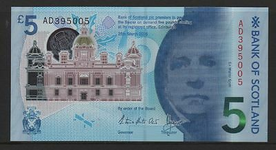 GB 2016 new uncirculated polymer bank of Scotland £5 note
