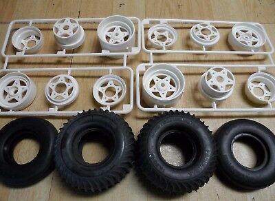 New Tamiya Grasshopper / Sand Scorcher Front And Rear Wheels & Tyres Parts Only