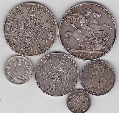 1887 Victorian Jubilee Head Set Of 7 Silver Coins In Fine Or Better Condition