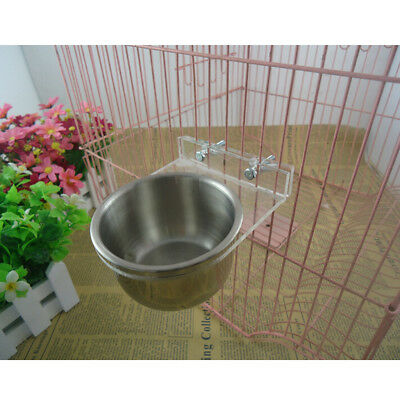 Silver Squirrel Parrot Bird Cages Feeder Pet Stainless Steel Food Water Bowl