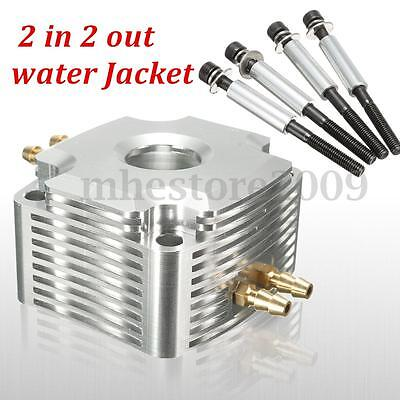 Silver Aluminum Water Jacket 2 In 2 out For 26CC Zenoah Engine Marine RC Boat