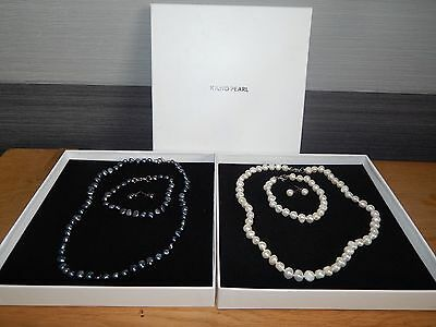 Bnwb Beautiful Kyoto Pearl Gift Sets Ivory & Blue Necklace Earrings & Bracelet