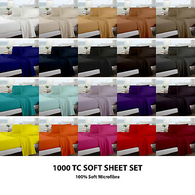 1000TC Microfiber Flat Fitted Sheet Set - Single/Double/Queen/King/Super Size b