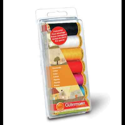 Gutermann Sewing Thread Set 100% Cotton 7 x 100m Sewing Craft All Purpose