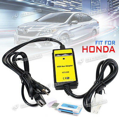 Car USB/SD Aux-in Adapter MP3 Interface w/ Card Reader For Honda Accord City