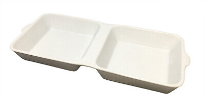 White Ceramic Burger Box Plate Side Serving Dish Food Restaurant 2 Compartments