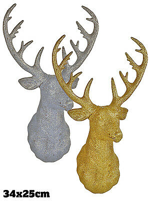 Gold Glitter Stag Head Christmas Xmas Decoration Wall Mounted Reindeer Ornament