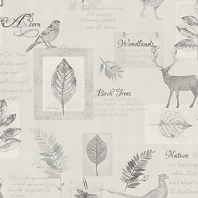 Woodland Collage Stag Wallpaper - Natural / Grey - Fd40750 - Fine Decor Silver